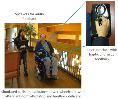 Photo with a woman holding a laptop connected to a wheelchair with a man sitting in it that simulates collision avoidance with attendant controlled stop and feedback delivery