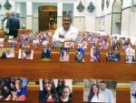 """巴西一教區將信徒的照片放在長凳上慶祝彌撒 """"信仰紐帶團結我們"""""""