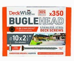 "DeckWise® Colormatch SS Bugle-Head Deck Screws #10x2-1/2"""