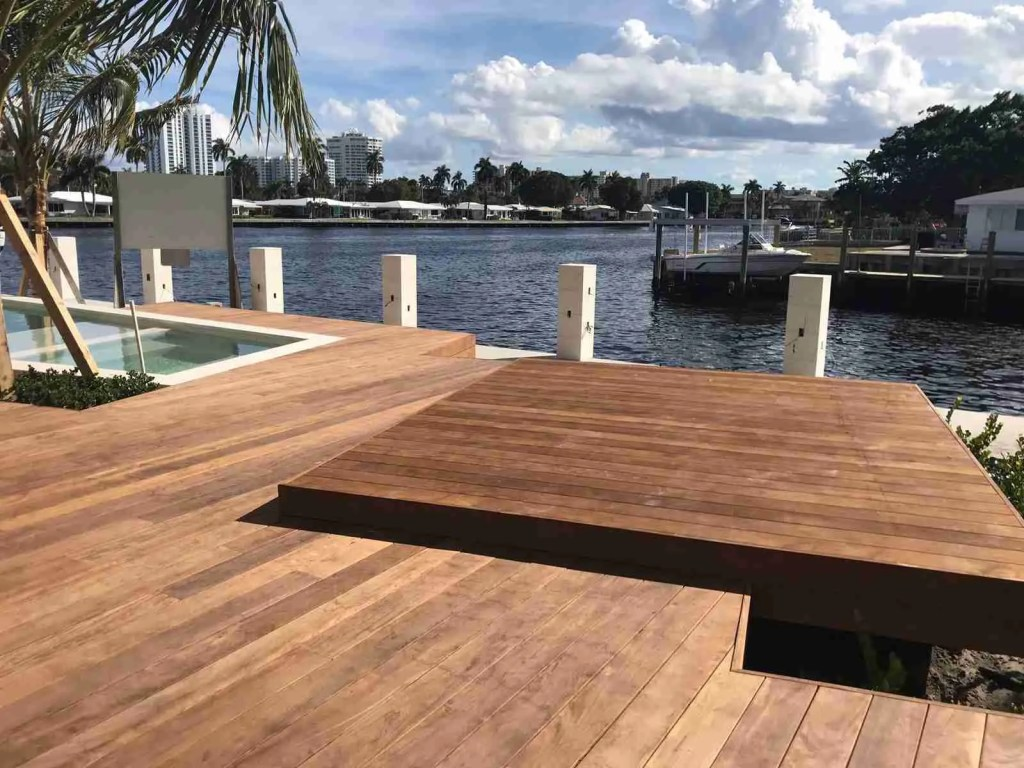 Waterfront multilevel ipe deck and dock on the intercoastal