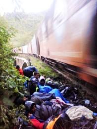 Sleeping by the tracks.
