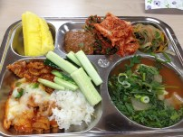 More cucumbers with ssamjang. Love. Japchae. Radish and napa kimchi. Fish soup with turnip and greens. Rice. Dalkgalbi--chicken and onions fried together and topped with cheese.