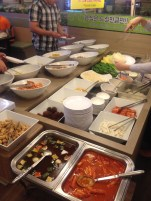 Shabu shabu place salad bar.
