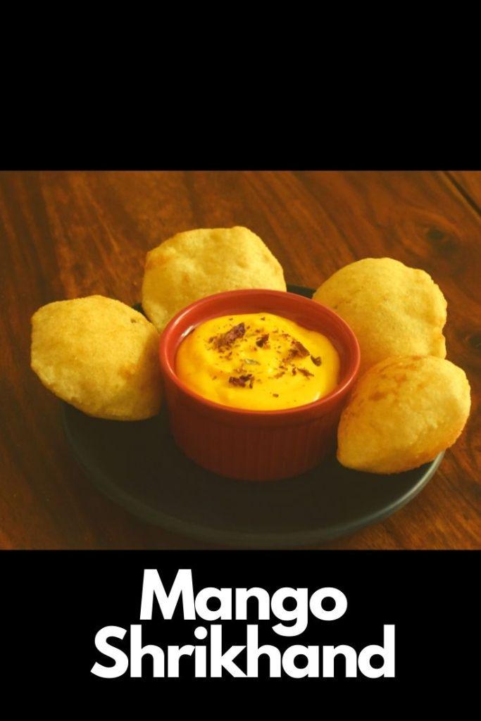 Mango shrikhand served with mini bhature