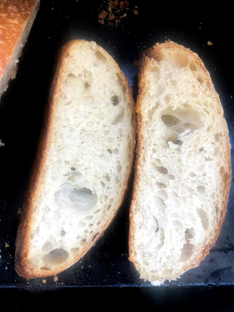 Open crumb from stiff dough sourdough