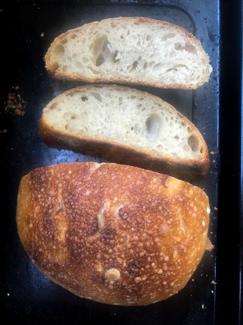 Beautiful sourdough loaf with stiff dough