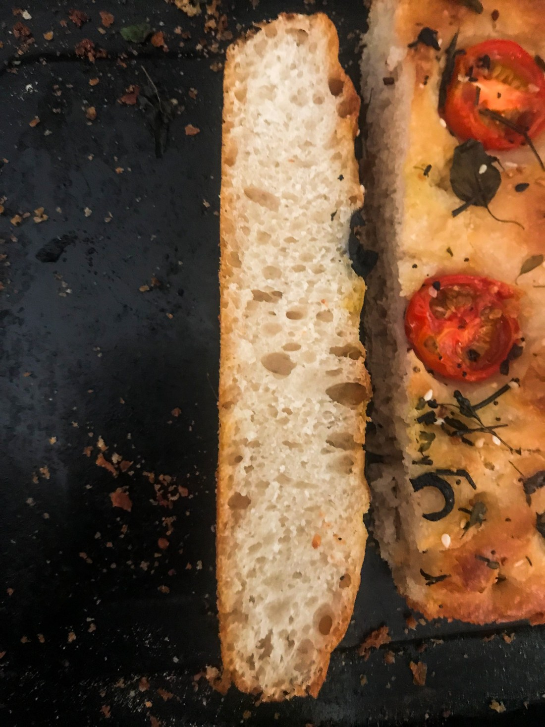 Beautiful crumb of sourdough focaccia