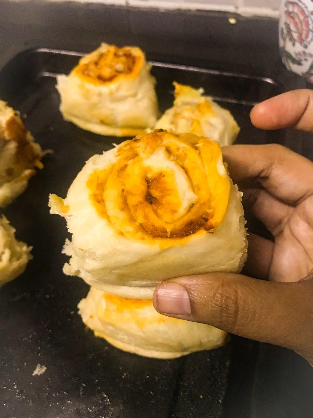 Closeup of sourdugh bun roll