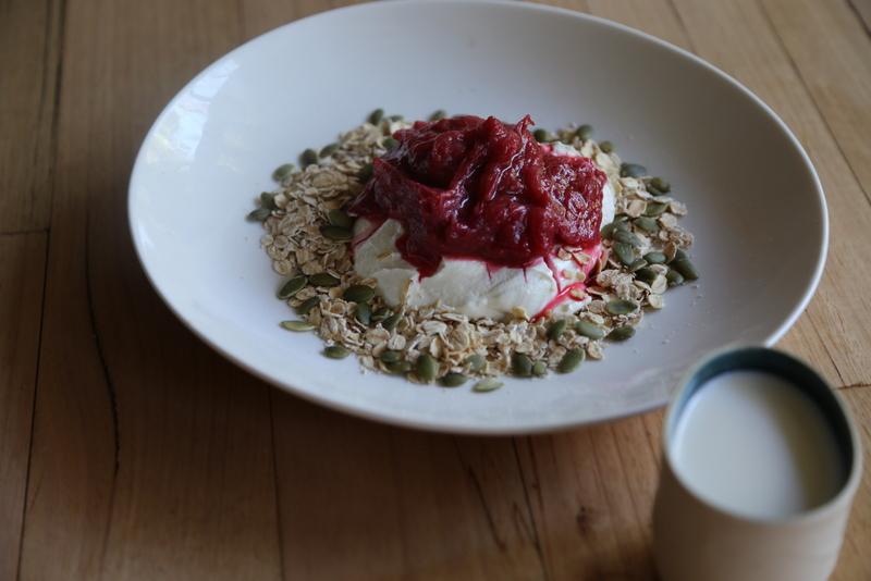 rhubarb, yoghurt & cereal
