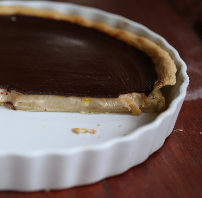 hidden pear & chocolate tart