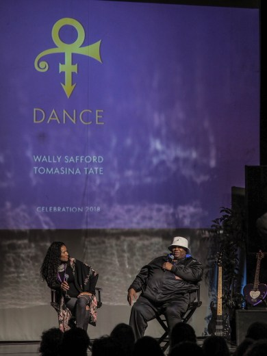 Wally Safford and Tomasina Tate on-stage during a Dance Panel Discussion at Paisley Park during Celebration 2018
