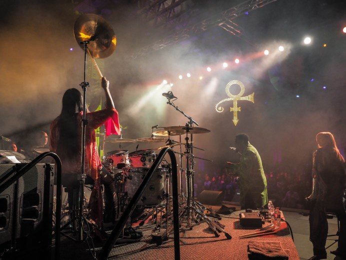 Sheila E. performs with her band in the Iconic Soundstage at Paisley Park during Celebration 2018