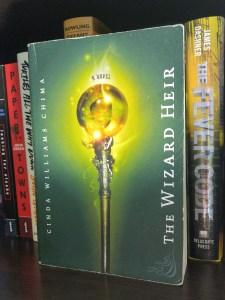 The Wizard Heir book on a bookshelf