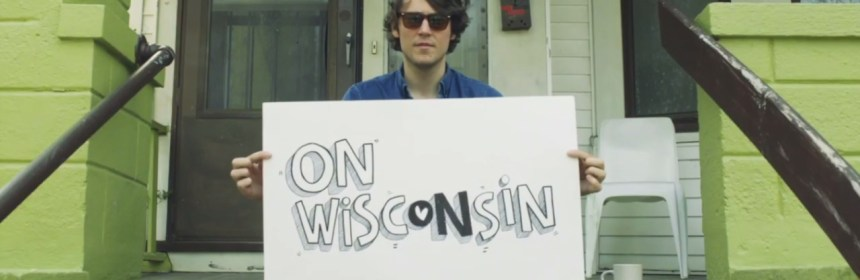 "Video still from Trapper Schoepp - ""On, Wisconsin"""