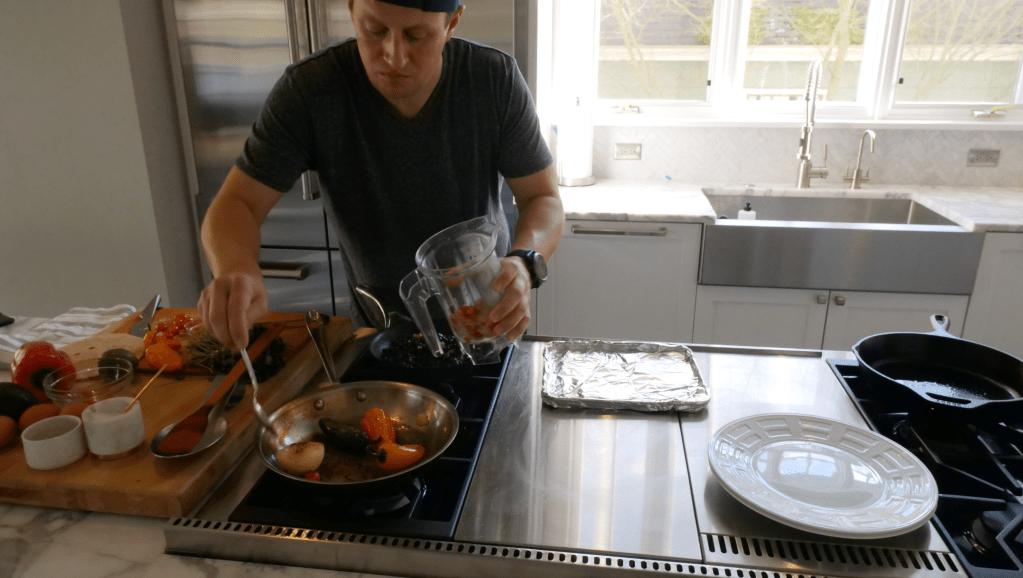 Add Roasted Vegetables To Blender