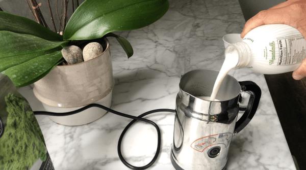 Matcha Almond Latte Steaming Milk