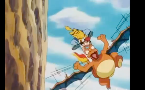 Pokemon Anime Charizard attempting to fly with Ash Ketchum on back