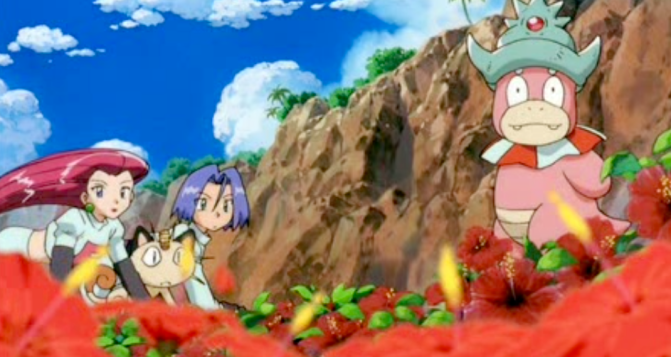 Pokemon The Movie 2000 Team Rocket and Slowking looking at viewer
