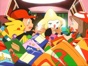 Pokemon Jirachi Wish Maker kids fighting over Jirachi