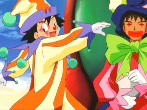 Pokemon Jirachi Wish Maker Ash Ketchum and Brock as clowns