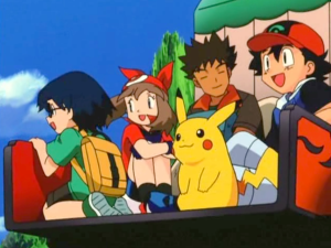 Pokemon Jirachi Wish Maker Ash Ketchum, Brock, Pikachu, May and Max farewell