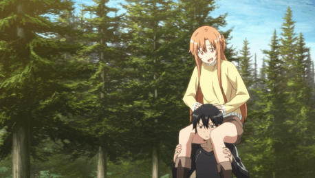 Sword Art Online Asuna sitting on Kirito's shoulders
