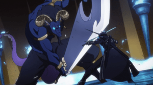 Sword Art Online Kirito blocks Minotaur's attack