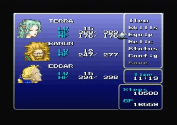 Final Fantasy VI status screen