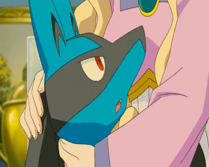 Pokemon: Lucario and the Mystery of Mew hugging Lucario