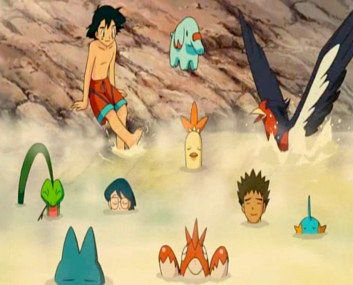 Pokemon: Lucario and the Mystery of Mew hot spring scene