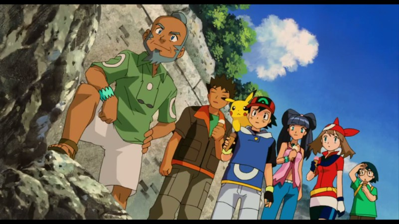 Pokémon Ranger and the Temple of the Sea Ash, Pikachu, Brock, May, Max, Lizabeth, Ship