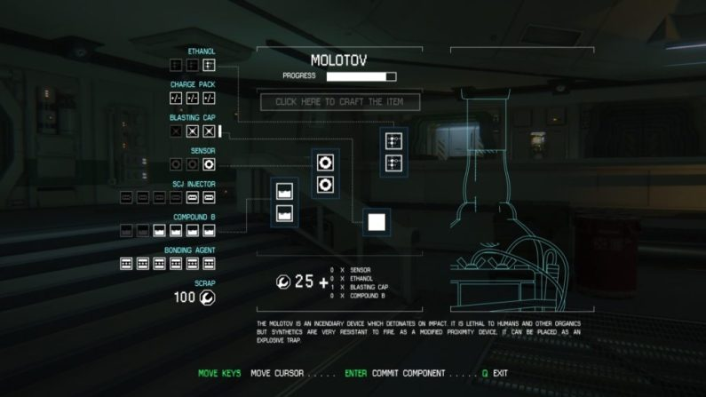 Alien: Isolation crafting system