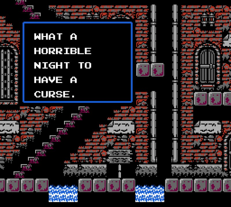 Castlevania II: Simon's Quest WHAT A HORRIBLE NIGHT TO HAVE A CURSE