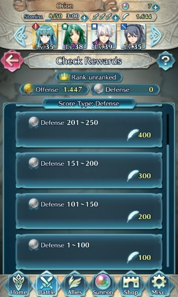 Fire Emblem Heroes Arena Duels defense points