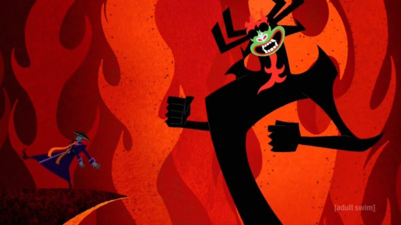 Samurai Jack season 5 Scaramouche and Aku dancing