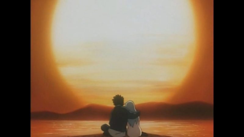 "Now and Then, Here and There anime Shuzo ""Shu"" Matsutani and Lala-Ru watch sunset"