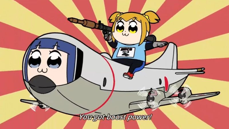 "Pop Team Epic anime F-Zero reference ""you got boost power"""