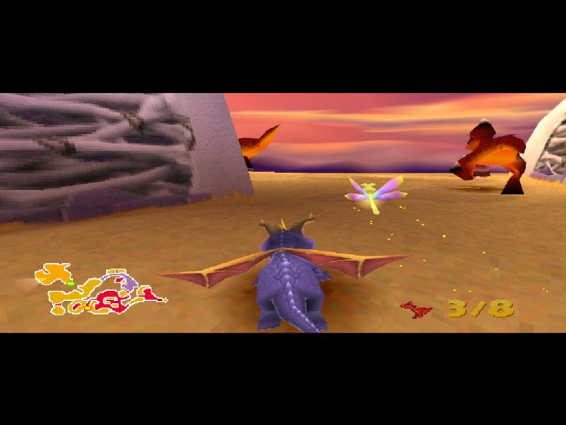 Spyro 2: Ripto's Rage (Gateway to Glimmer) gameplay Skelos Badlands fire lizards