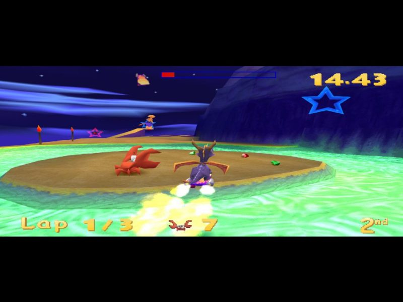 Spyro: Year of the Dragon PS1 gameplay Lost Fleet skateboard race
