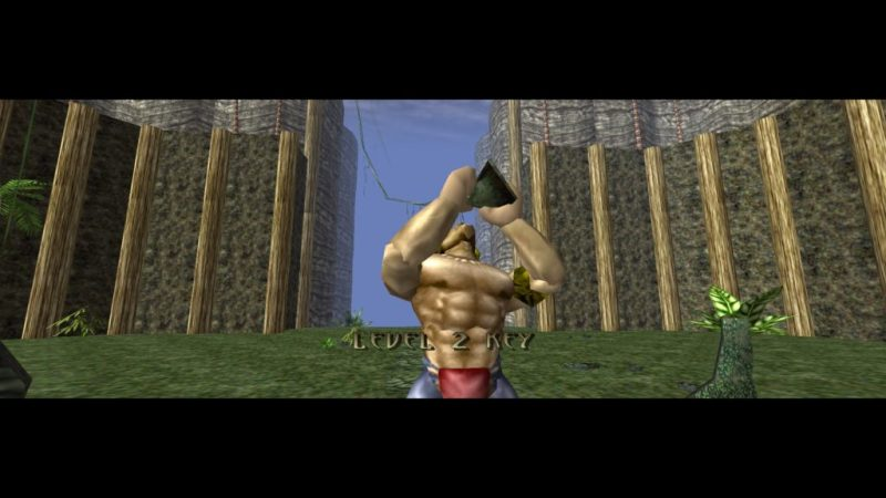 "Turok: Dinosaur Hunter Turok ""drinking"" from a key"