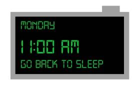 digital clock telling you to go back to sleep
