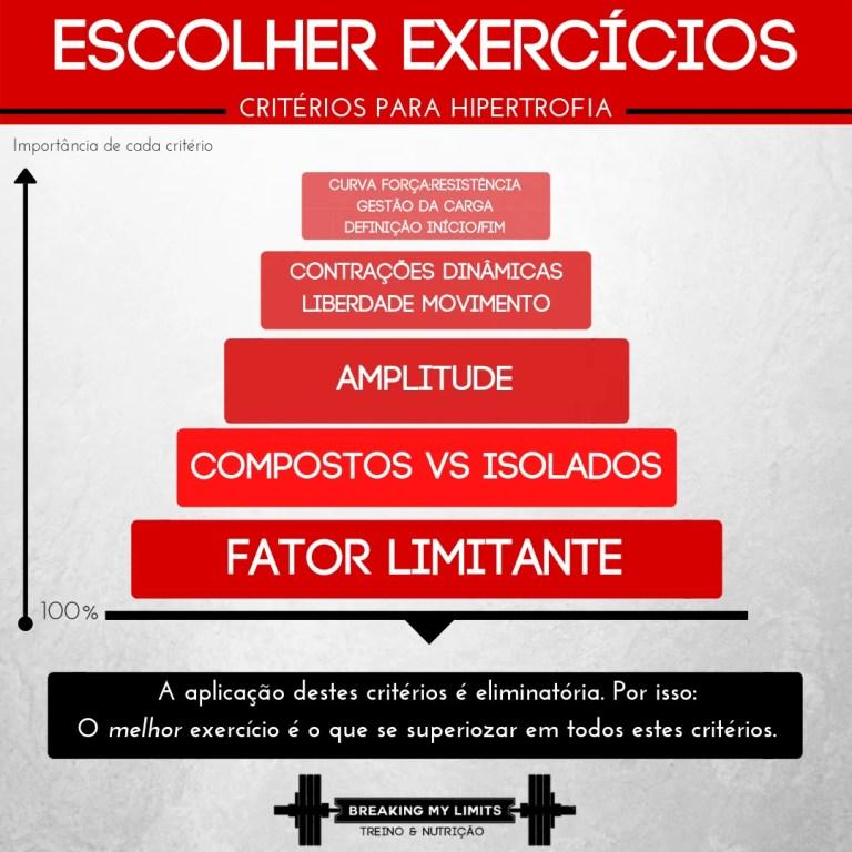 Os critérios para escolher exercícios para hipertrofia permitem determinar qual o melhor exercício a realizar para cada músculo, atendendo à individualidade do atleta. Por ordem de importância temos: Fator Limitante > Complexidade do exercício > Amplitude > Tipo de contração > Liberdade de Movimento > Compatibilidade da curva força:resistência > Capacidade de gestão da carga > Definição de um ponto de término da execução.