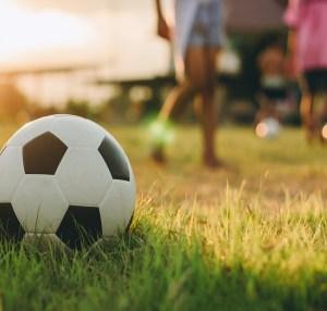 soccer ball on grass in sunlight