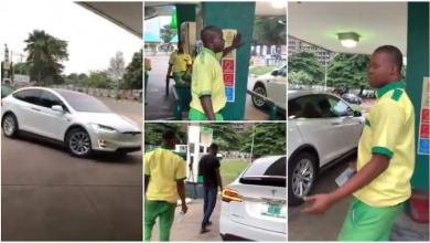 Photo of VIDEO: Confusion as man drives Tesla electric car to petrol station