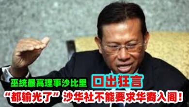 """Photo of 巫统最高理事拿督斯里阿末沙比里说:""""都输光了,沙华社不能要求华裔入阁""""!"""