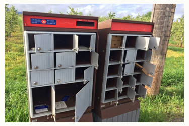 Mail boxes broken into
