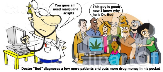 Medical pot script scam allowed by Lisa Helps, cartoon by Hal Hannon