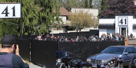 Biker gathering at Devils Army clubhouse in Langford