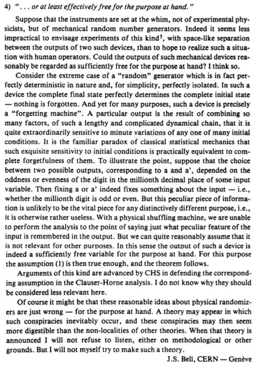 Bell's Theorem - Bell on random number generators free enough