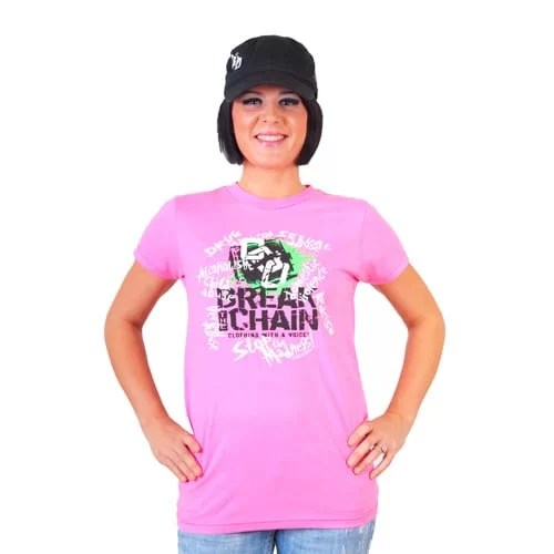 Break the Chain's Logo Pink T-Shirt and Military Hat